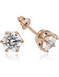 925 Sterling Silver Rose Gold Plated Earrings With Swarovski® Xirius Queen 6mm . Elegant Jewelry Box Included....