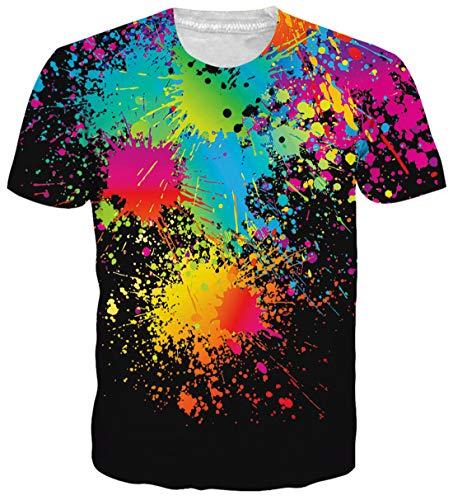 uideazone Damen Herren Coole T Shirts Kurzarm 3D Print Bunte Splash T-Shirt Tops schwarz XXL - Splash Top