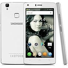 """Doogee X5 Max - Smartphone móvil libre (Android 6.0, Pantalla 5.0"""", Quad Core, 8GB ROM, 1GB RAM, Dual SIM, Sensor de huellas dactilares), Color blanco"""
