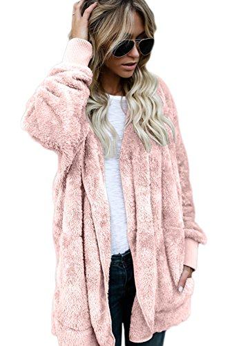 Fausse Fourrure Devant Les Femmes Hiver Élégante Veste Ouverte Outercoat Parka Doublée Chaud Épaissir pink