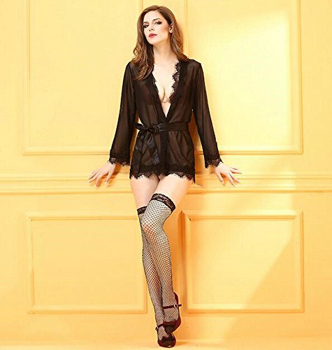 Frauen-reizvolle Wäsche-Bügel-Cardigan Unterwäsche-Set Spitze Perspektive Pyjamas Schwarz