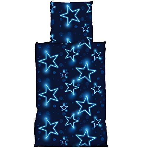 JEMIDI Bettwäsche Bettbezug 2 teilg 135cm x 200cm Bett Bezug Bezüge Garnitur Set Bettdecke Kopfkissen Stern Sterne Blau Jungen Mädchen (Stars)