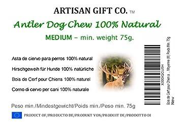 Bois de Cerf pour Chien a Mâcher - 100% Naturel et Écologique - Taille Moyenne (M) Poids Min. 75g - 1 Unité. Artisan Gift Co