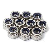100 Stück M3 Edelstahl Nylon einfügen Kontermuttern Mutter Schraube Lock Hexagon