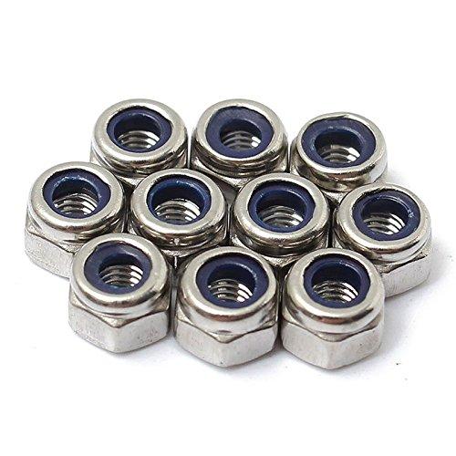 100 Stück M3 Edelstahl Nylon einfügen Kontermuttern Mutter Schraube Lock Hexagon -
