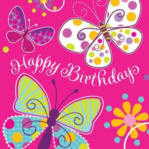 Creative Converting Schmetterling Sparkle Happy Birthday Lunch-Servietten, 16Count Lunch Butterfly Sparkle