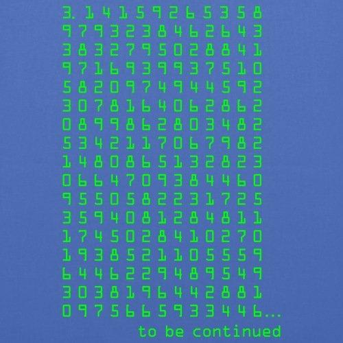 Spreadshirt Pi 3,14159265358 Nerd Kreiszahl Mathe Stoffbeutel Hellblau