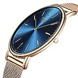 LIGE Herren Damen Unisex Uhren Mode Einfache Ultradünne Analog Quarz Uhren Wasserdichte Rose Gold Edelstahl Mesh Armband+Kasten
