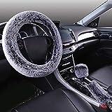 LZK Winter Wolle Samt Auto Lenkrad Abdeckung Kurze Plüsch Set Winter Unisex Plüsch dreiteilig,Schwarz und Wei,1