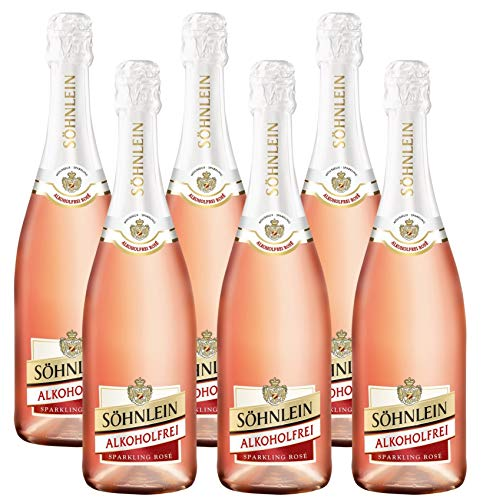 SÖHNLEIN BRILLANT Rosé Sekt Alkoholfrei (6 x 0.75 l) ǁ alkoholfreier Rosé Sekt ǀ Prickelnder und süßer Sektgenuss auch ohne Alkohol ǀ Schäumendes Getränk aus alkoholfreiem Wein