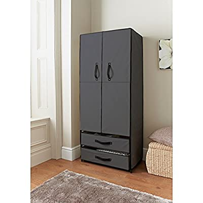 Deluxe Double Door Wardrobe Grey Bedroom Storage Organizer - cheap UK light store.