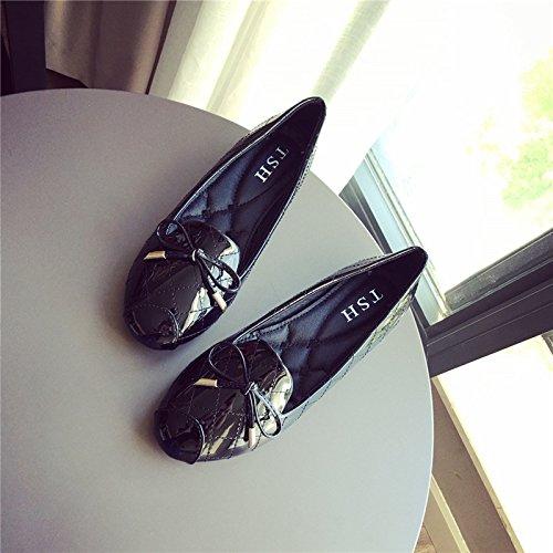 WYMBS Nouveau cuir arc rond plat chaussures femmes chaussures chaussures grande taille chaussures talons plats scoop Gray