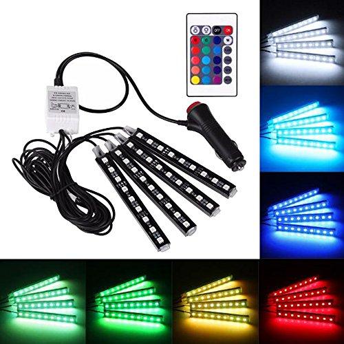 Skitic 4 in 1 RGB 5050 9LED Auto Innenraumbeleuchtung Lichtleiste Dekoration LED-Atmosphäre Lampe Licht LED-Streifen Unterboden Strip Leiste Lichterkette Beleuchtung mit Fernbedienung (Rückseite Led Licht-lampen Blaue)