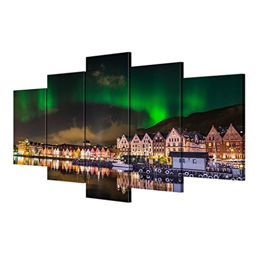 DSADDSD Northern Lights Landschaft dekorative Malerei, Canvas Printing- Foto-5 Stück + Frame Canvas dekorative Malerei Wohnzimmer Wandbilder, 108x50 cm dekorative Gemälde