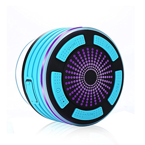 Shower Speaker,SURPHY IP67 Waterproof Bluetooth Speaker,Portable Bluetooth 4.0 Wireless Speaker with Mp3 Player,FM Radio,Waterproof,Shockproof,Speakerphone,Multiple Color LED Light Functions Handsfree Talk, Rechargeable Battery, Strong Suction Cup Test