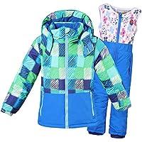 Gimitunus Chaqueta de esquí con Capucha y Pantalones Impermeables para niños a Prueba de Viento, Impermeable y Cortavientos para niños niñas (Color : Azul 2, tamaño : 3Y/98)