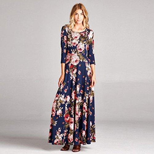 kleid damen Kolylong® Frauen Elegante Blumen Gedrucktes langes Kleid Partykleid Sommer Strandkleid Abendkleid Böhmisches kleid Blau