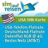 USA Prepaid Reise-Sim-Karte im AT&T Netz mit Telefon- und Internetflatrate (8 GB @ 4G)