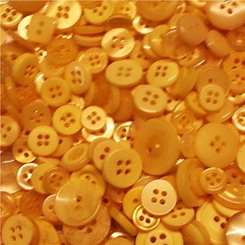 Kissen Knöpfen Mit Gelbe (ASVP Shop 100Kleine farbige Knöpfe Hochzeit Dekorationen Tisch Mittelpunkt Craft Art Kitsch, plastik, Yellow Mix, 25 g)