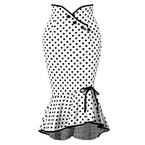 FAMILIZO Faldas Largas Y Elegantes Faldas Cortas Mujer Verano Faldas Mujer Invierno Primavera Vestidos Mujeres Moda Dot Lazos Trompeta Sirena Apretado Falda con Botón