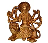 Purpledip Hindu Goddess Shera Wali Durga Ma Statue: Solid Brass Metal Idol For Home Temple, Office Table Or Shop Puja Shelf | Religious Gift (10681)