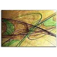 100x70cm Abstrakt022_Leinwandbild Abstrakte Braun Grün Schwarz Kunst  Kunstdruck Auf Leinwand Zeitloses Wohnambiente TOP Moderne Wandgestaltung