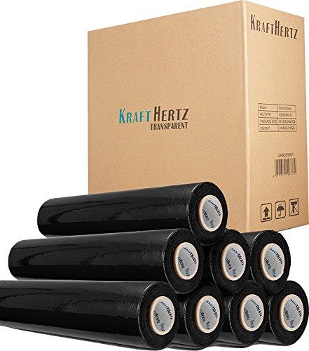 KRAFTHERTZ Stretchfolie Premium Qualität Rollen, 12 Varianten, 2 Farben Schwarz Transparent, 2 Längen 200m 300m, 3 Stärken 17my 20my 23my SUPER PLUS (6 X 300M 17my X 500mm, Schwarz)