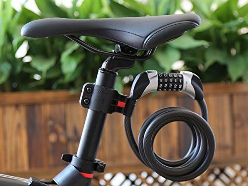 Fahrradschloss, Blusmart Fahrrad Sicherheitsschloss mit 5 stelligem intelligentem Code und Fahrradhalterung, 1,8 m lang - 2