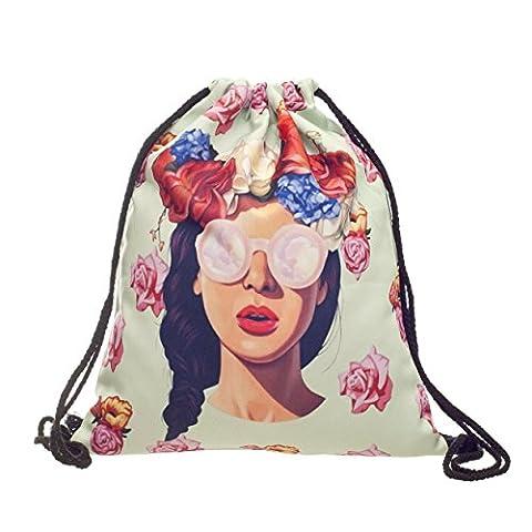 Beutel Fullprint Hipster Girl Sunglasses Sonnenbrille Sun Fun Blumen Blüten Flowers Stringbag Kordelsack Sport Loomiloo SBHG