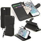 madCase Étui à rabat/portefeuille Support Poches cartes de crédit Cuir de qualité Film protecteur Stylet Pour Apple iPhone 5/5s