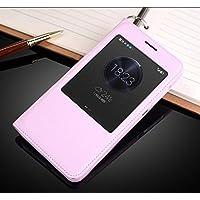 Prevoa ® 丨Flip PU S - View Cover Case Schutzhülle Tasche für Huawei Honor 4X 5.5 Zoll Smartphone - (Rosa)