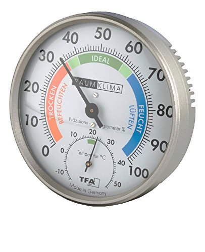 TFA Dostmann Präzisions Hygrometer Klimatest, Grau, 100 x 26 mm