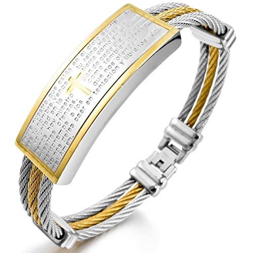 Inblue Herren Armband Edelstahl Armreif Manschette Gold Silber Zwei Ton Kabel Kreuz Bibel Lords Prayer von ()