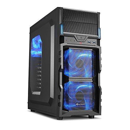 Sharkoon VG5-W PC-Gehäuse (Schnellverschlüsse, 3x 120-mm-LED-Lüfter vorinstalliert, USB 3.0) blau