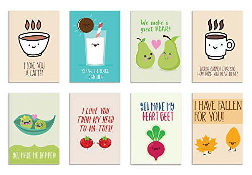 alterEgo Cute Puns for Love - Set of 8 Postcards