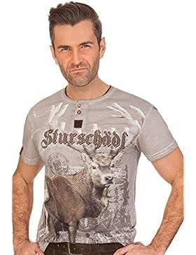 MarJo Trachten Herren Shirt - Sturschädl - Grau