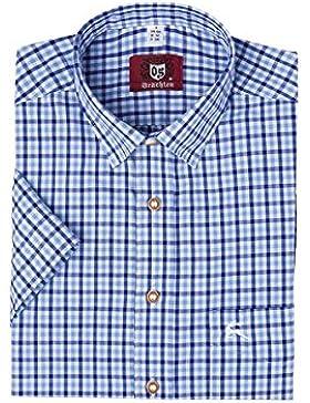 OS-Trachten Herren Trachtenhemd blau karo kurzarm 112624