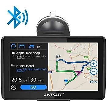 AWESAFE Navegador GPS para Coches de 7 Pulgadas con Bluetooth con 22 Tipos PDIs y Planificaciones Inteligentes de Rutas (con Mapas Recientes y ...