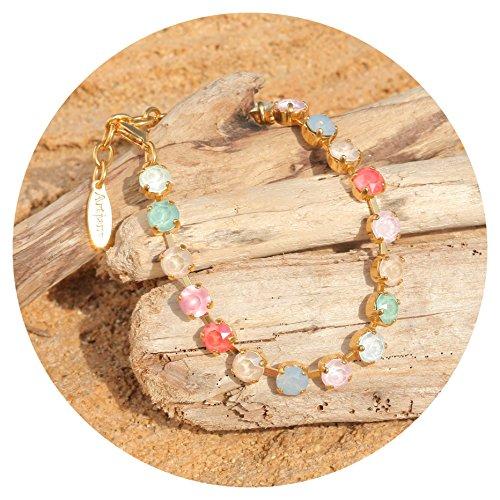 Romantische Rose Peach (artjany gold Armband Swarovski Kristalle pastel bunt mix)