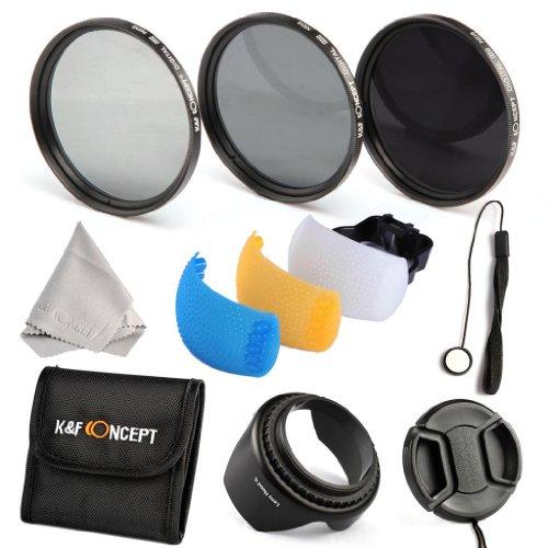 K&F Concept® Objektiv ND Filterset 58mm ND2 ND4 ND8 Filter 58mm Graufilter Set 58mm mit Gegenlichtblende Filtertasche Mikrofasertuch Objektivdeckel und Pop-up SLR Flash Diffuser Blau Geld Weiß