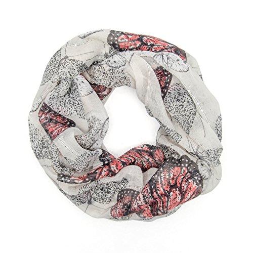 MANUMAR Loop-Schal für Damen | feines Hals-Tuch mit Schmetterling-Motiv als perfektes Herbst Winter Accessoire | Schlauch-Schal | Damen-Schal | Rund-Schal | Das ideale Geschenk für Frauen und Mädchen