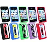 Emartbuy ® Apple Iphone 4S 4G 4Gs HD Bundle Pack Of 5 Kassetten Silicon Skin Cover / Case - Lila, Rot, Blau, Schwarz Und Grün