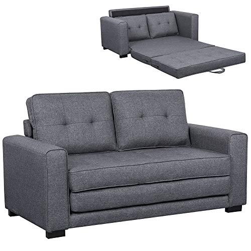 Bakaji divano letto 2 posti in tessuto di lino trapuntato imbottito con schiuma ad alta densità struttura in legno masselo piedini in gomma dura dimensione 152 x 73 x 8 cm (grigio scuro)