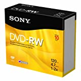 Sony 10DMW47SS 2X 4.7 GB DVD-RW Disc 10-Pack