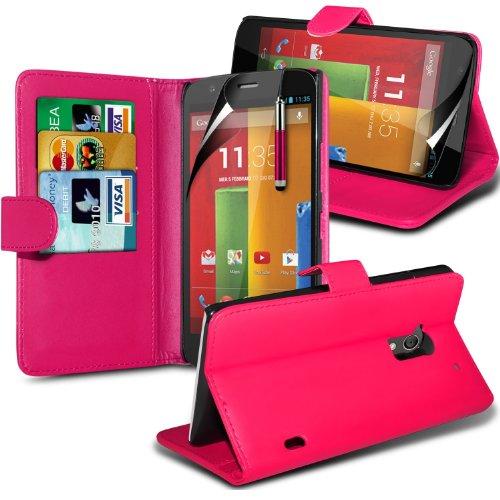 ( Green ) Motorola Moto G & Moto 4G LTE Hülle Abdeckung Cover Case schutzhülle Tasche Perfect Fit PU Leder Flip Mit 2 Kredit- / Debitkartensteckplatz-Fall-Haut-Abdeckung mit LCD-Display Schutzfolie, R Wallet + Pen (Hot Pink)
