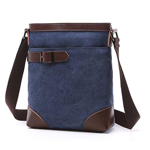Outreo Umhängetasche Vintage Kuriertasche Retro Taschen Herren Messenger Bag Schultertasche Herrentaschen für Tablet Schultaschen Reisetaschen Sport Tasche Blau