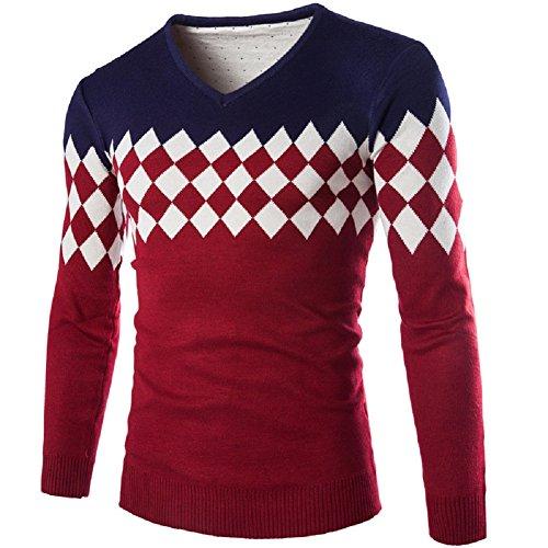 BOMOVO Herren Streifen Feinstrick Strickpullover V-ausschnitt Pullover Sweatshirts Rot