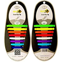 Nimble House Unisex No Tie Elastic Silicone Shoe Laces Fit All Sneakers (Black) - Set of 16