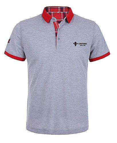 Wixens Herren Poloshirt Kurzarm Einfarbig Sommer T-Shirt Men's Polo Shirt(Grau,L)