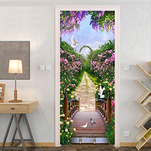 Taube-stick (Zkamang Blume Meer Vogel Tür Aufkleber, 3D Pastoral Wind Tür Aufkleber, Taube rosa Blume Pfad Tür Wandbild, Home Decoration Tür Poster Wandaufkleber)